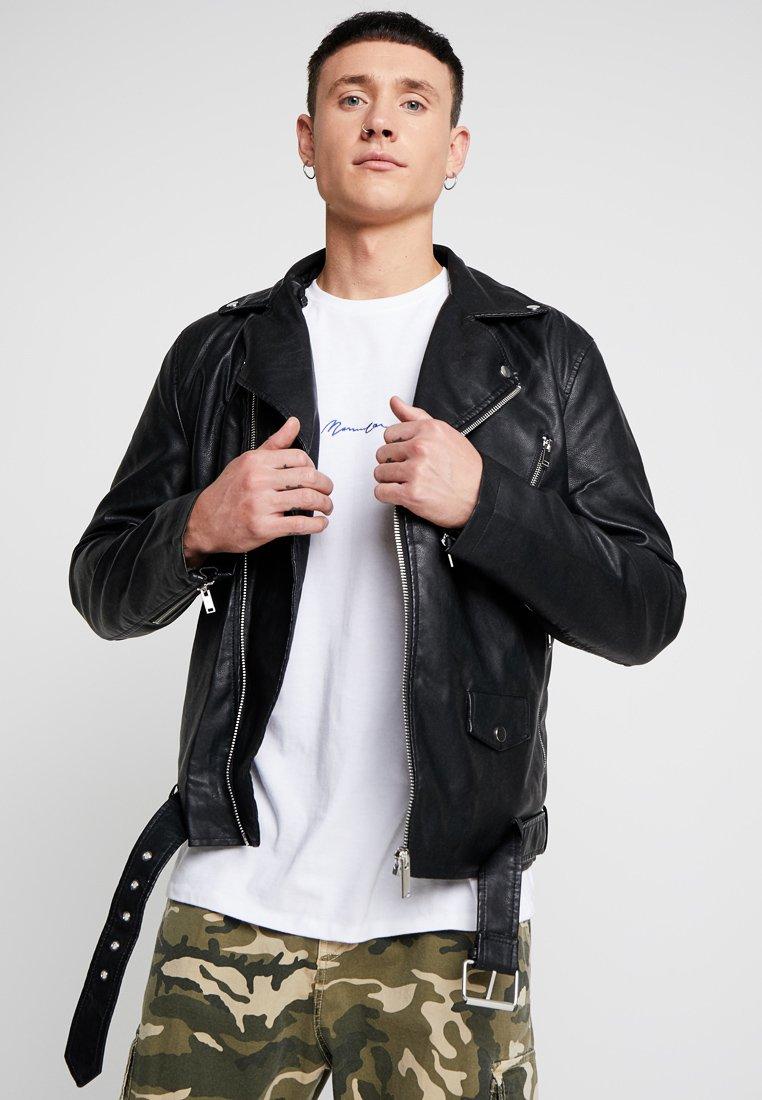 River Island - HARLEY BIKER  - Faux leather jacket - black