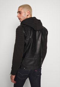 River Island - HYBRID BIKER - Faux leather jacket - black - 2