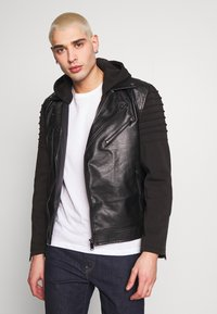 River Island - HYBRID BIKER - Faux leather jacket - black - 0