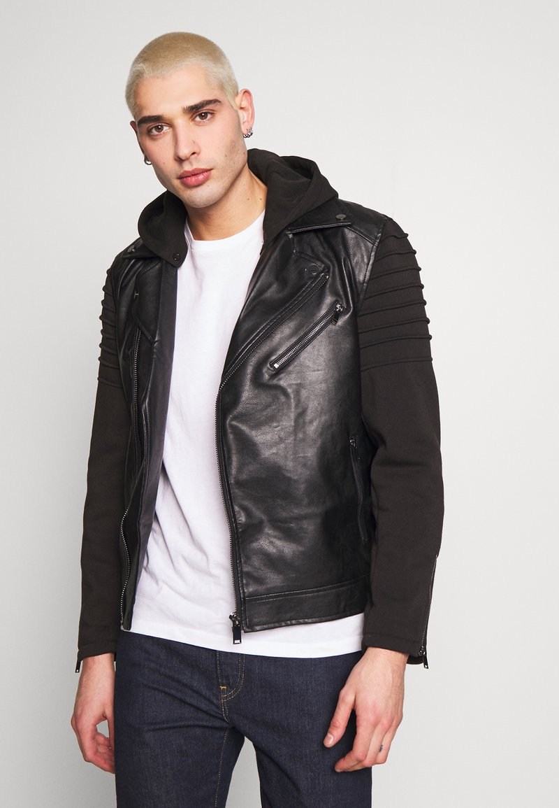 River Island - HYBRID BIKER - Faux leather jacket - black