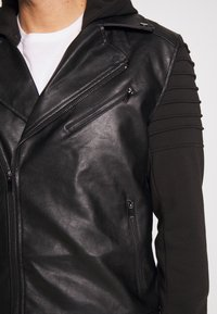 River Island - HYBRID BIKER - Faux leather jacket - black - 5