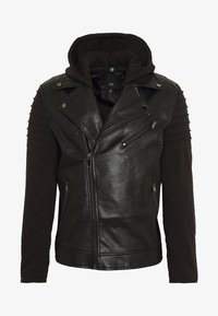 River Island - HYBRID BIKER - Faux leather jacket - black - 4