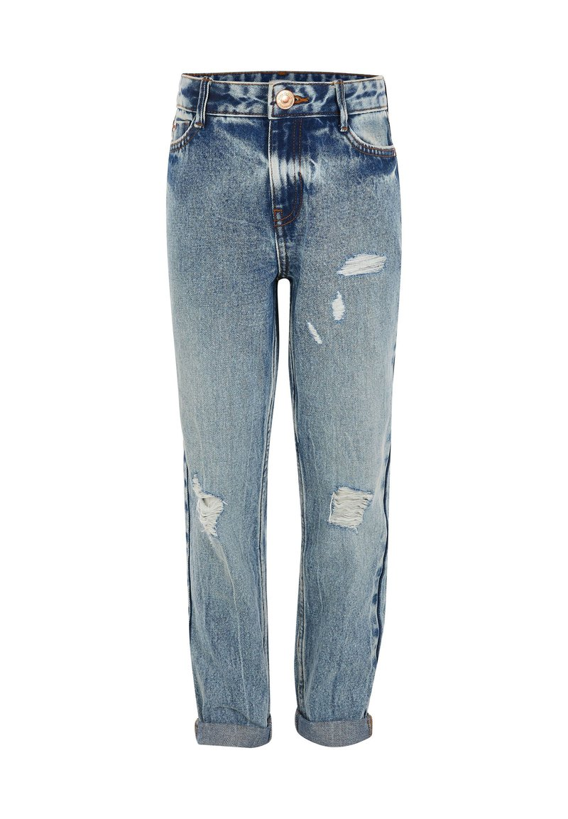 River Island - GIRLS BLUE RIPPED MOM HIGH RISE JEANS - Straight leg jeans - blue