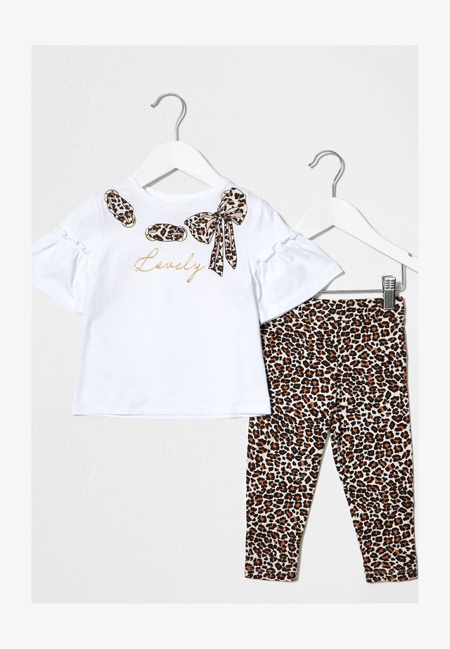 LEOPARD PRINTED BOW SET - T-shirt med print - white