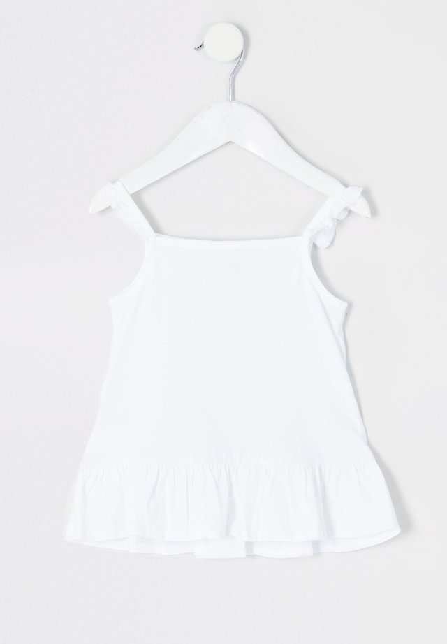 MINI GIRLS WHITE FRILL CAMI TOP - Linne - white