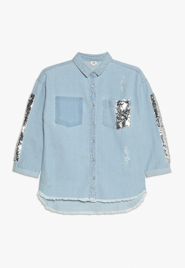 River Island - SEQUIN SHACKET - Camisa - blue