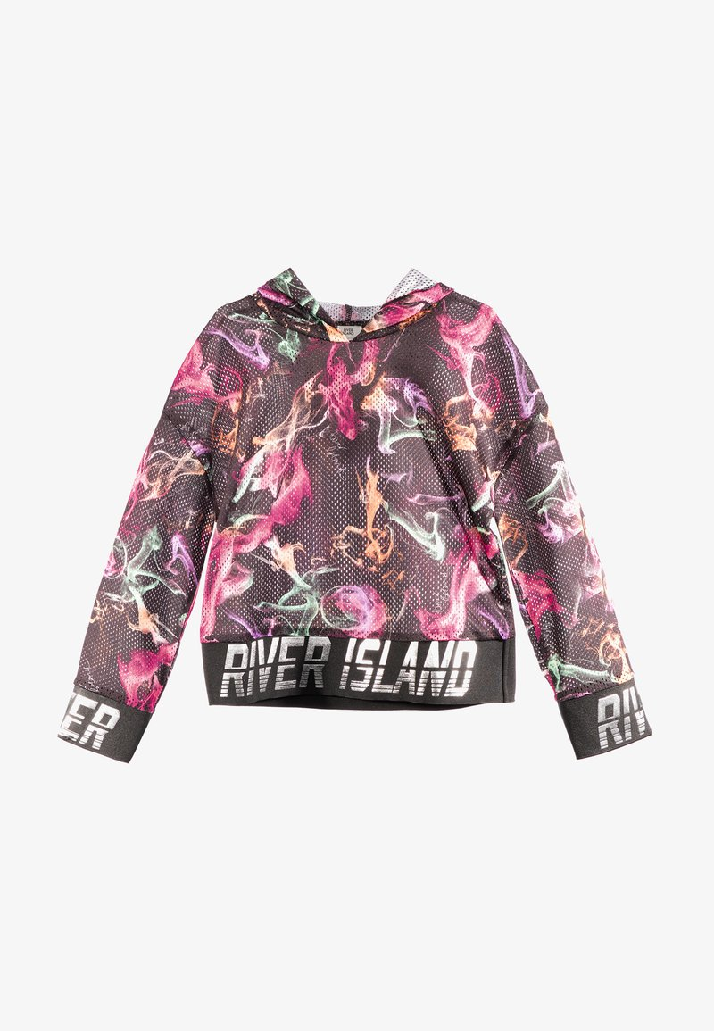 River Island - SMOKE PRINT COVER UP - Felpa con cappuccio - black