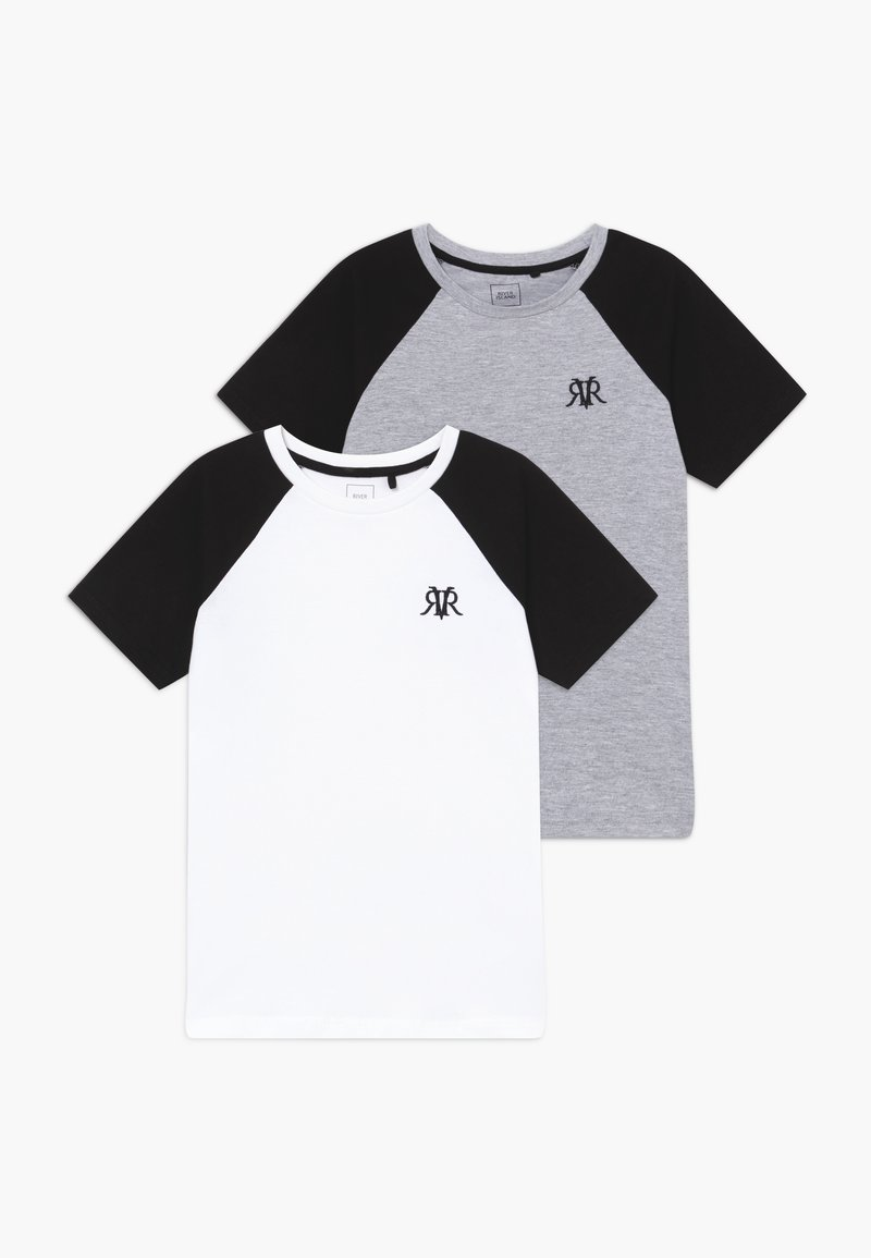 River Island - 2 PACK - T-shirt imprimé - white