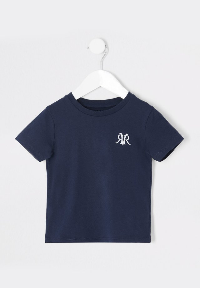 MINI BOYS NAVY RVR EMBROIDERED T-SHIRT - Camiseta básica - navy