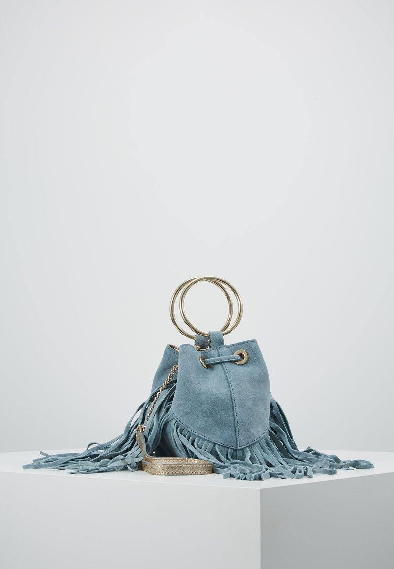 River Island - FRINGED MINI BUCKET - Håndtasker - light blue