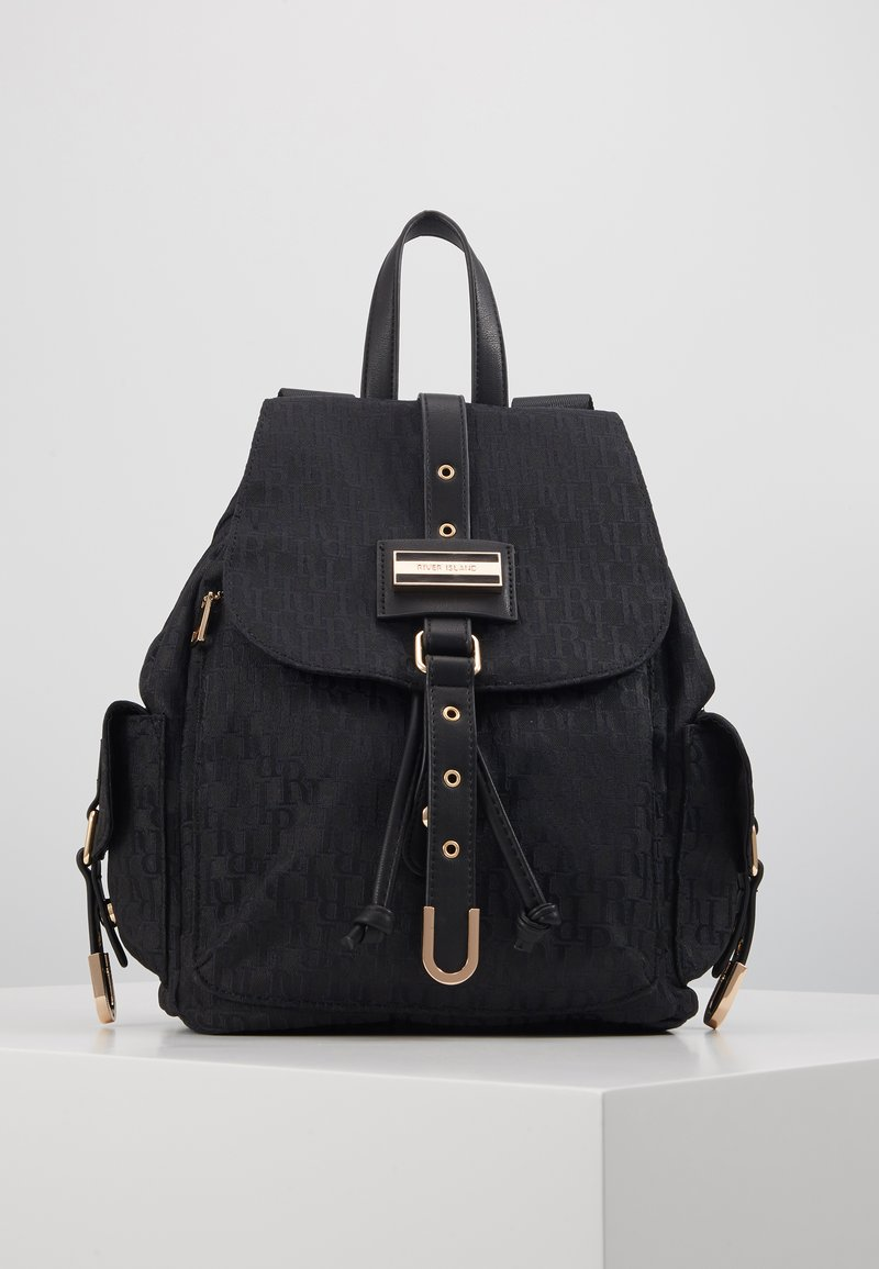 River Island - LOCK FRONT BACKPACK - Reppu - black
