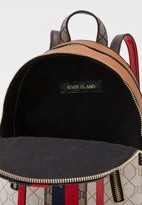 River Island - MONOGRAM WEBBING PACKPACK - Rucksack - white/brown - 2