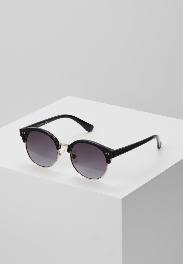 GLITTER RETRO ROUND SMOKE LENS - Solglasögon - black