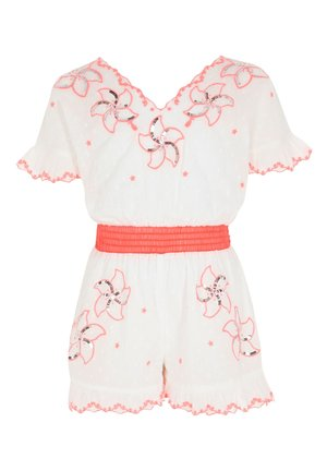 GIRLS WHITE EMBROIDERED SEQUIN PLAYSUIT - Combinaison - white