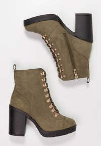 River Island Wide Fit - Bottines à talons hauts - khaki - 3