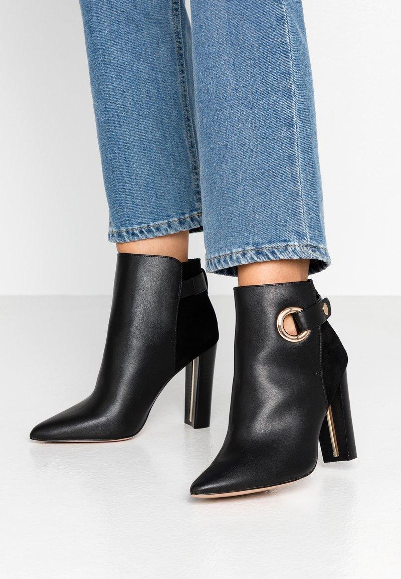 River Island Wide Fit - Kotníková obuv na vysokém podpatku - black
