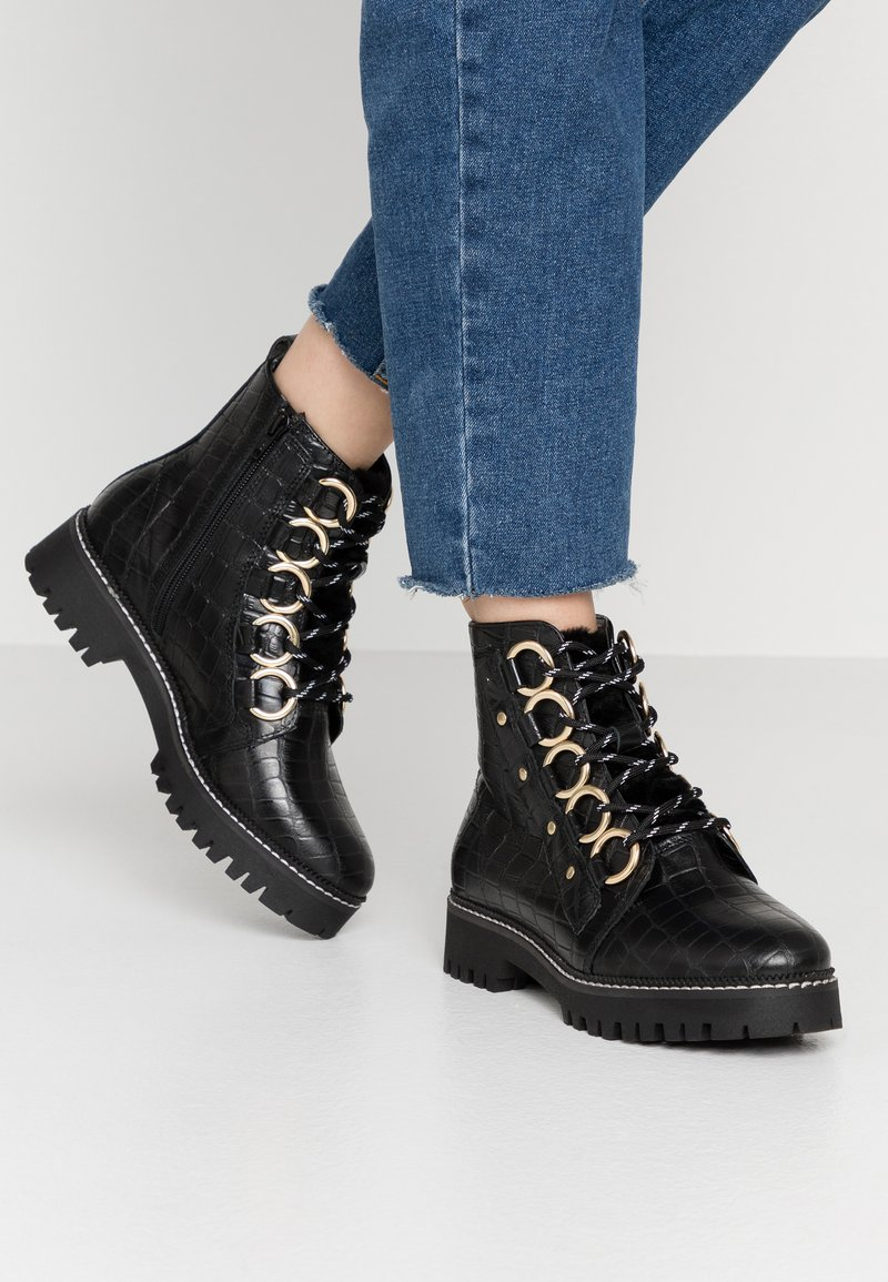 River Island Wide Fit - Platform ankle boots - black