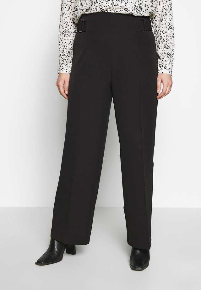 BELINDA BUCKLE WAIST WIDE LEG - Trousers - black