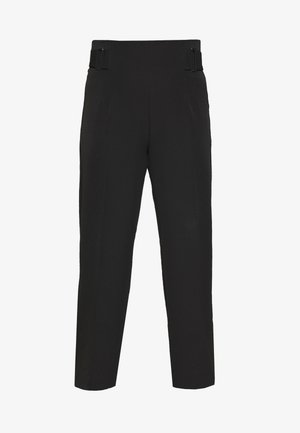 BELINDA BUCKLE WAIST WIDE LEG - Trousers - black