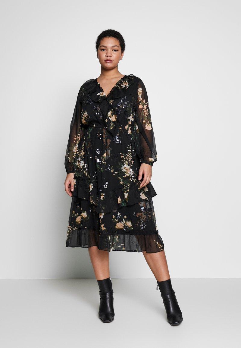 River Island Plus - SEOUL FRILLY DRESS - Day dress - black