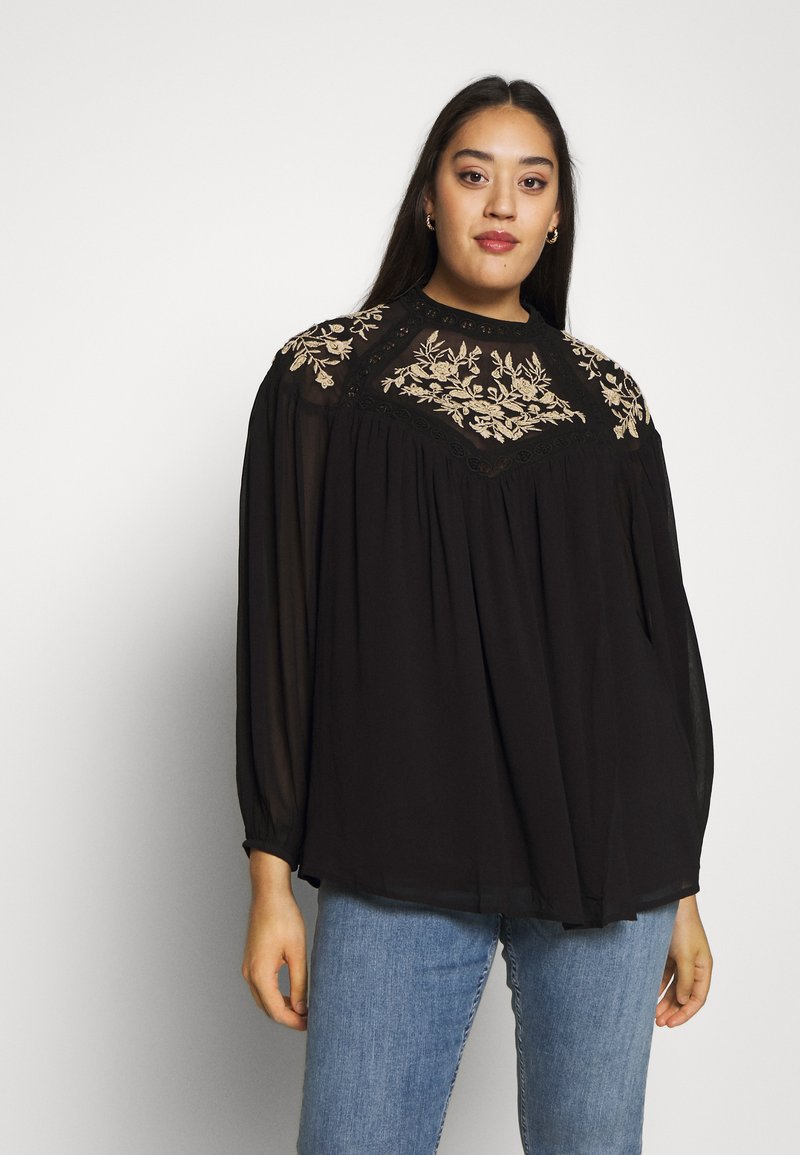 River Island Plus - ELLIE EMBROIDERED BLOUSE - Blůza - black