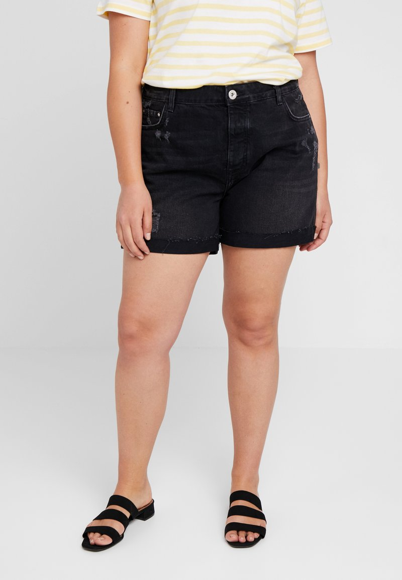 River Island Plus - Jeans Short / cowboy shorts - washed black