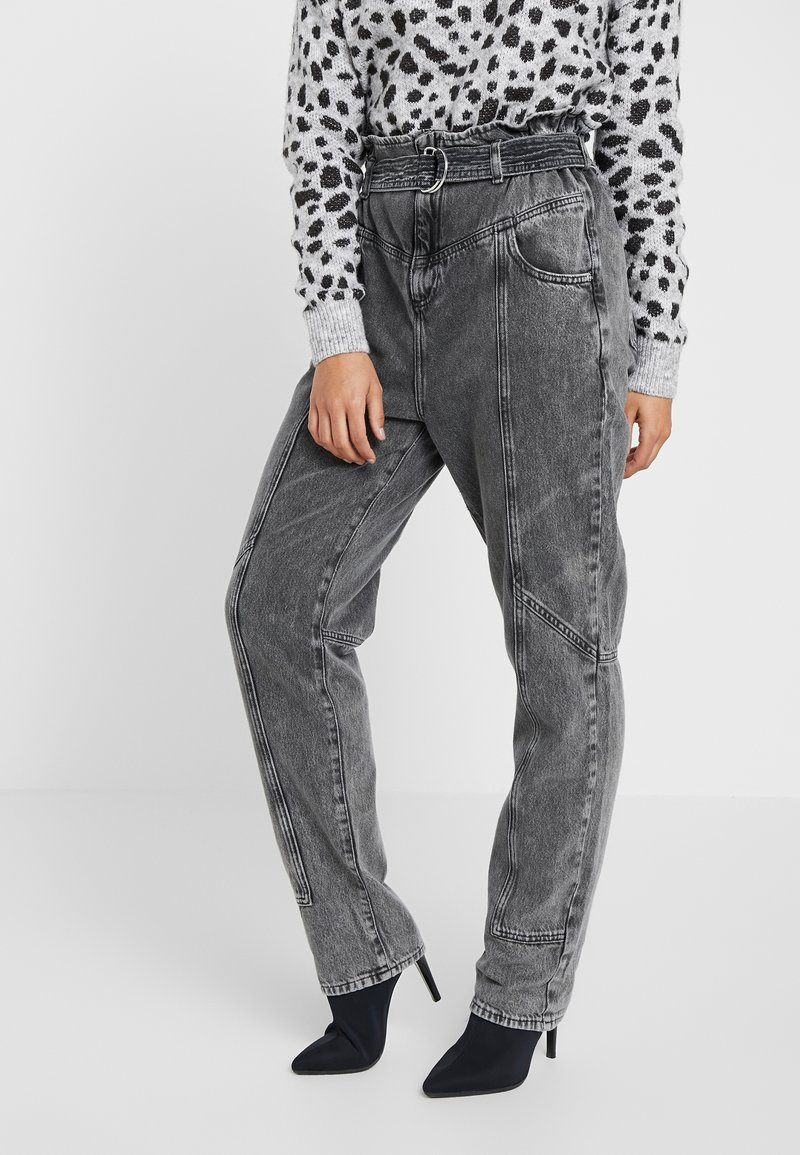 River Island Petite - PAPERBAG UTILITY  - Jeans Relaxed Fit - grey acid