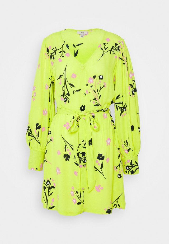 WAISTED MINI DRESS - Day dress - yellow