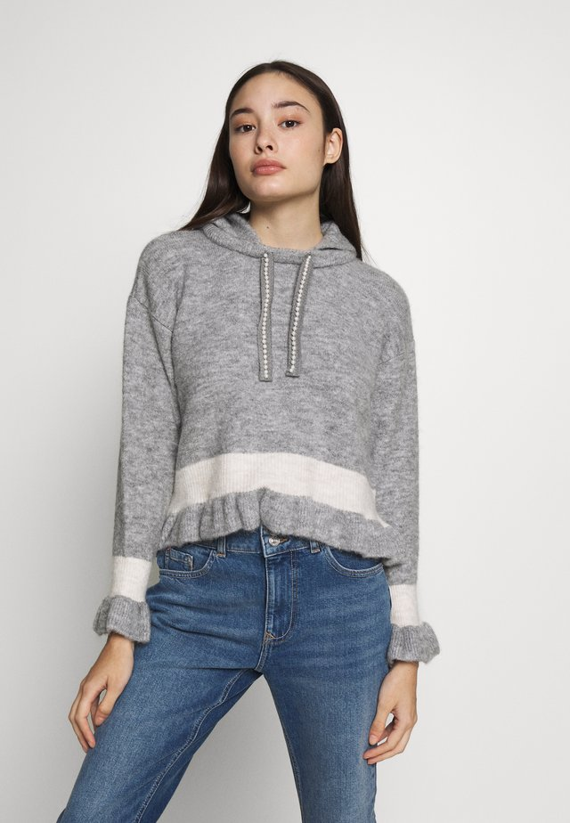 FRILL CROP HOODY - Jumper - cream with grey