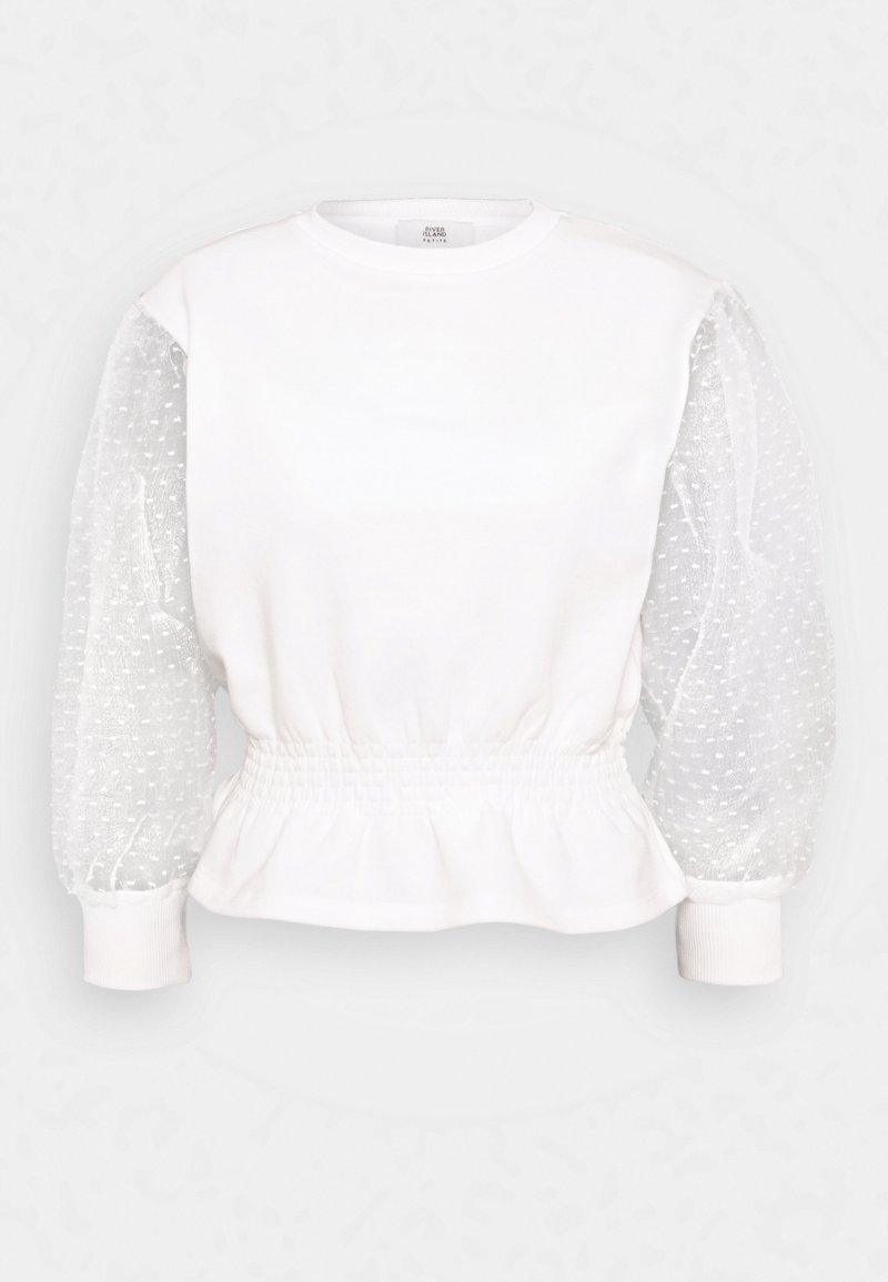 River Island Petite - SHIRRED HEM - Sweatshirts - white