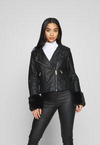 River Island Petite - PETITE KATNSS FUR CUFF BIKER - Faux leather jacket - black - 3