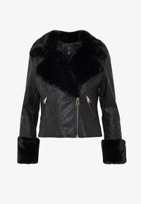 River Island Petite - PETITE KATNSS FUR CUFF BIKER - Faux leather jacket - black - 5