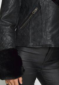 River Island Petite - PETITE KATNSS FUR CUFF BIKER - Faux leather jacket - black - 6