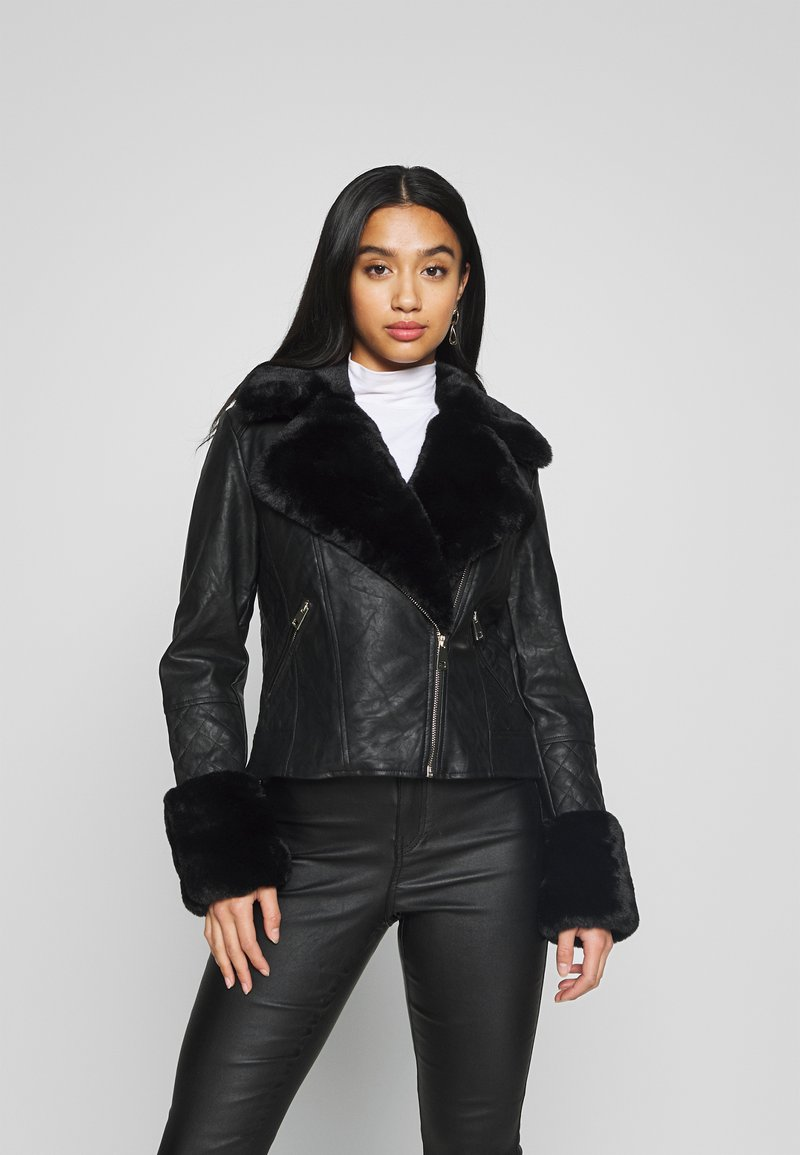 River Island Petite - PETITE KATNSS FUR CUFF BIKER - Faux leather jacket - black
