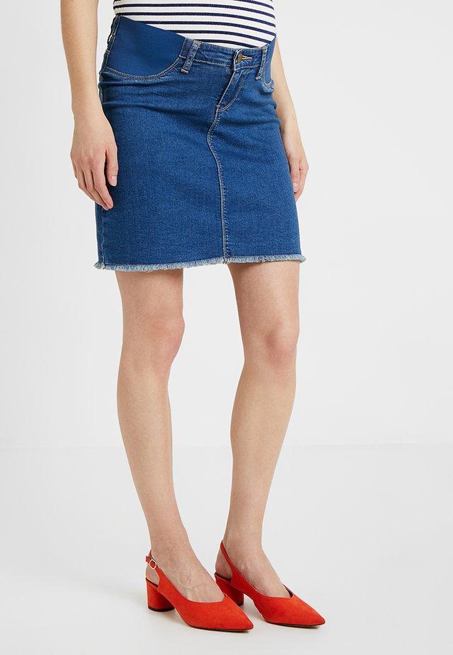 ISLA DISTRESSED SKIRT - Mini skirts  - blue denim