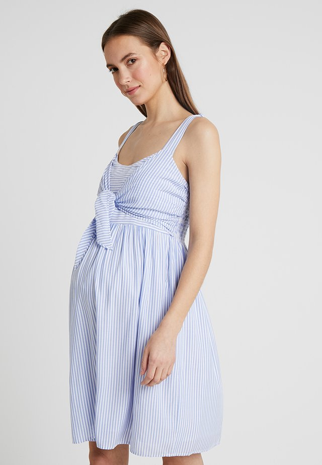 SALLY TIE FRONT NURSING DRESS - Korte jurk - sky blue/white