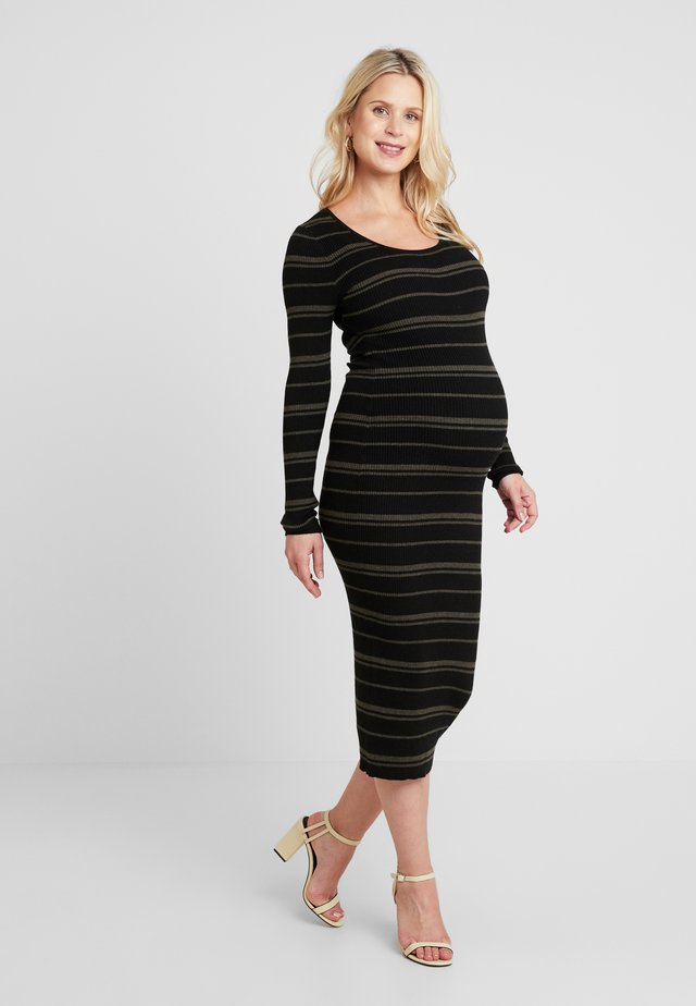 JENNA DRESS - Shift dress - black/olive