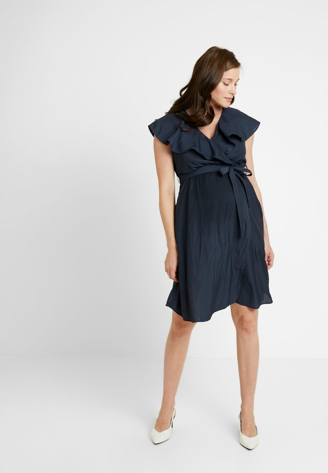 FRILL WRAP NURSING DRESS - Jersey dress - ink