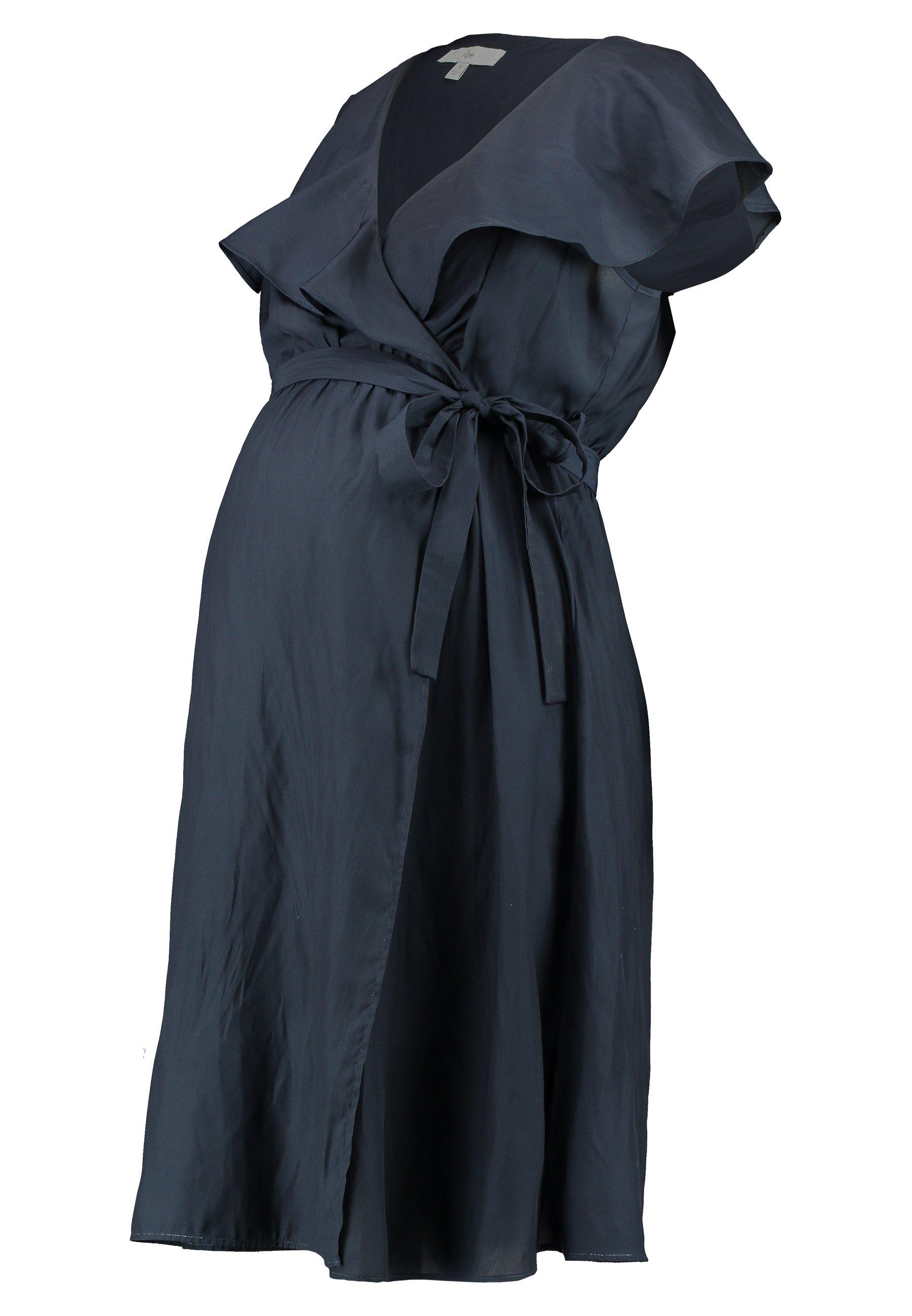 Ripe FRILL WRAP NURSING DRESS - Jerseyjurk - ink