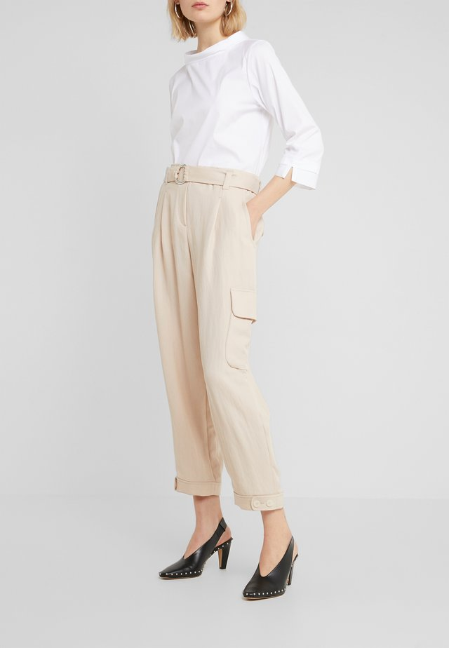 WIDE FIT - Trousers - pale almond