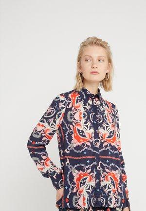 Button-down blouse - deep blue patterned
