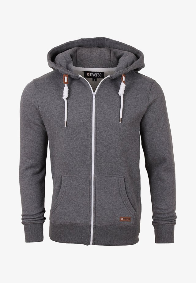 MIT REISSVERSCHLUSS KAPU - Zip-up hoodie - grey melange