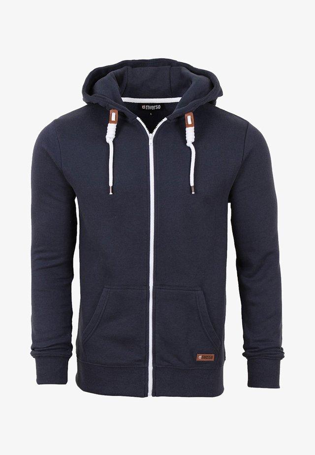 MIT REISSVERSCHLUSS KAPU - Zip-up hoodie - navy