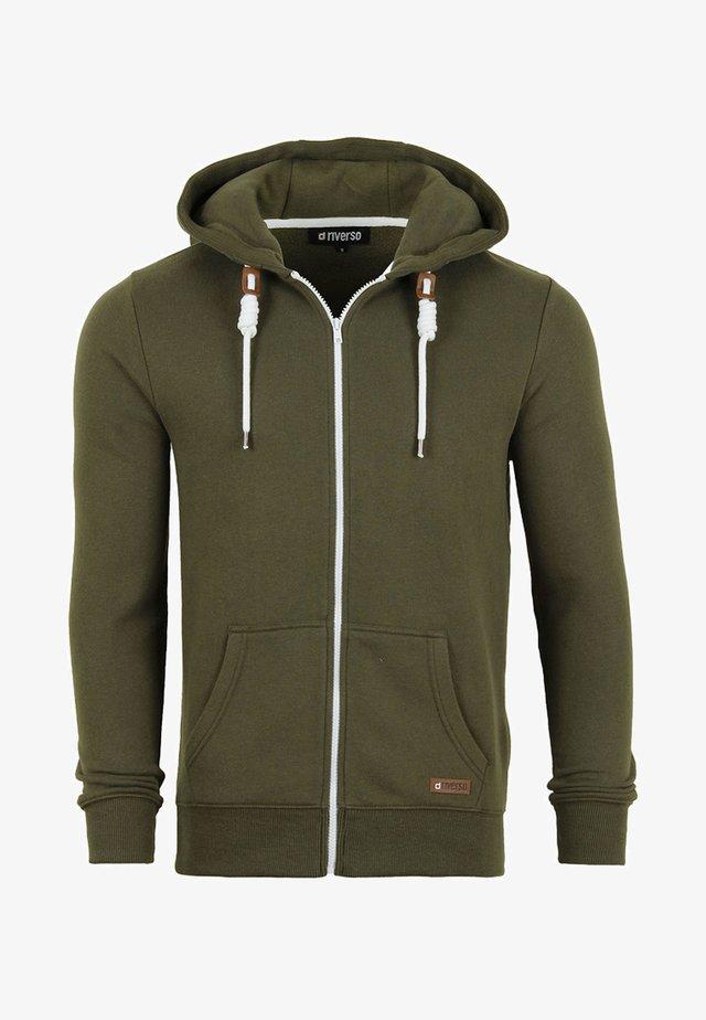 MIT REISSVERSCHLUSS KAPU - Zip-up hoodie - ivy green