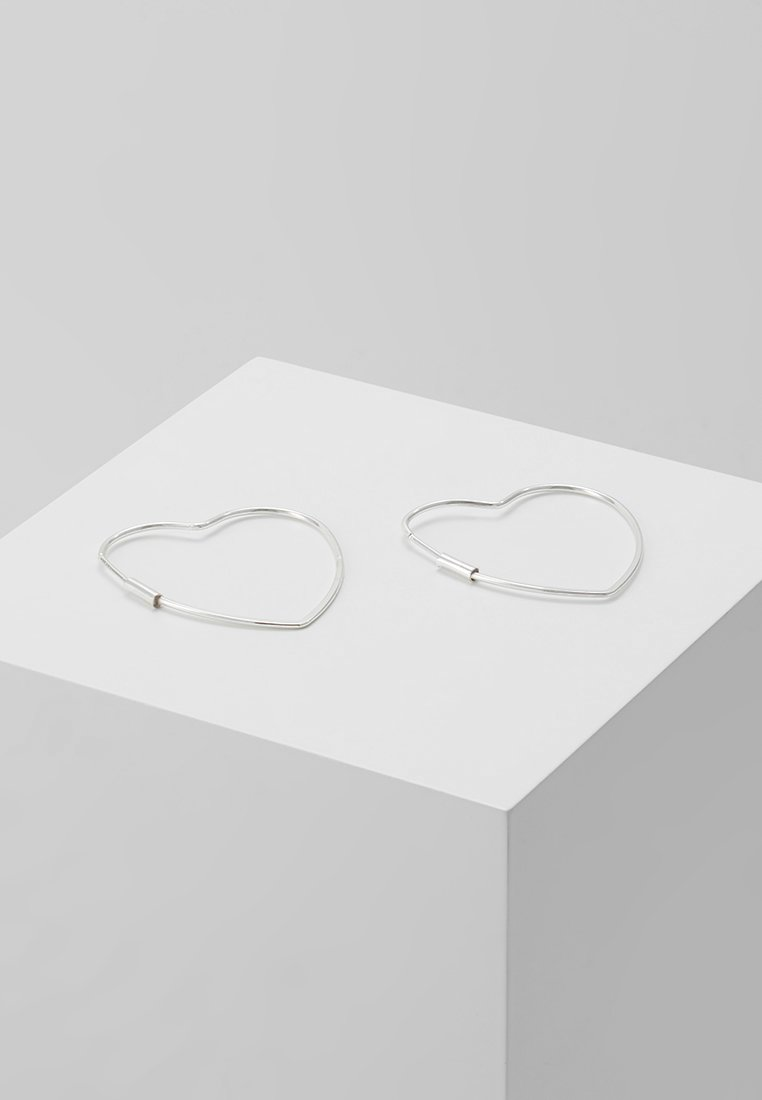 Orelia - HEART HOOP EARRINGS - Ohrringe - silver-coloured