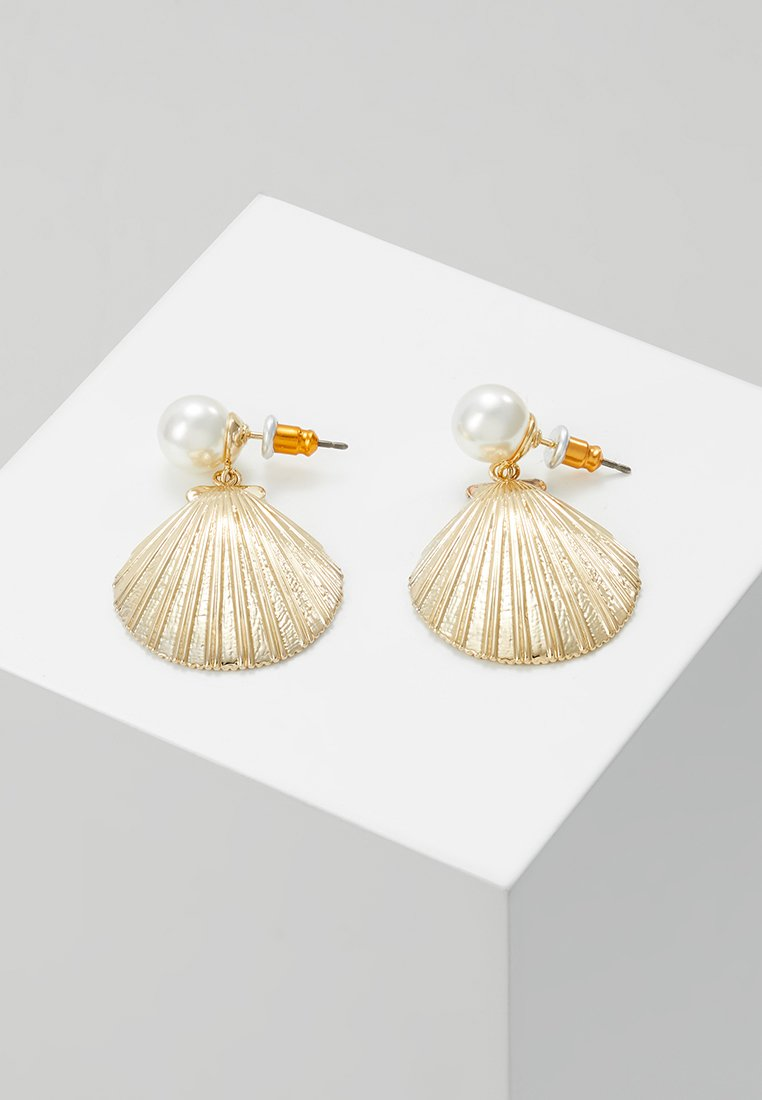 Orelia - STATEMENT SHELL DROP EARRINGS - Ohrringe - pale gold-coloured