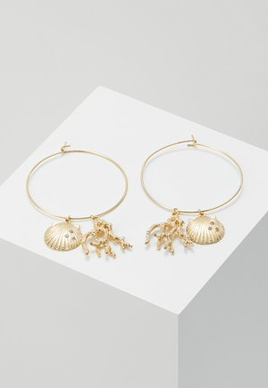 CORAL AND SHELL CLUSTER HOOPS - Pendientes - pale gold-coloured