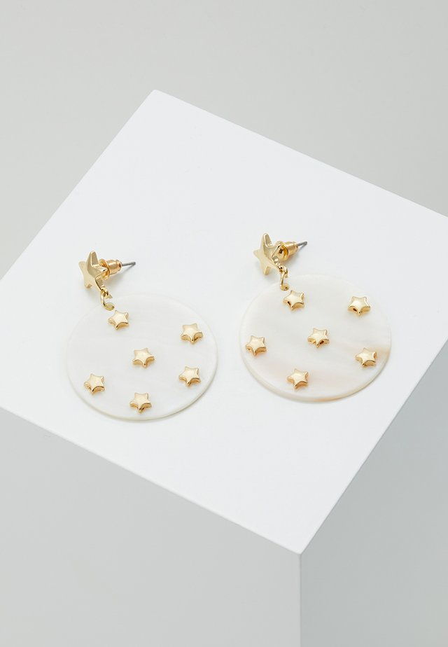 STAR EMBELLISHED MOP DISC EARRINGS - Korvakorut - pale gold-coloured