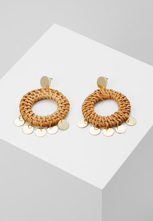 HOOP COIN STATEMENT EARRINGS - Kolczyki - pale gold-coloured