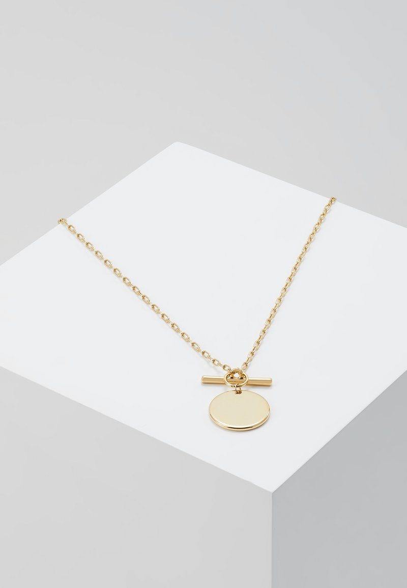 Orelia - COIN T BAR FASTENING SHORT NECKLACE - Collana - pale gold-coloured